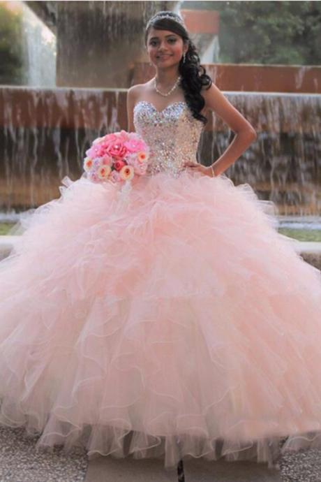 Ball Gown Prom Dresses,Princess Dresses,Quinceanera Dresses,Sweet 16 Dresses,Pink Prom Dresses,Sweetheart Prom Dress,Beading Prom Gowns,Sparkly Prom Dresses