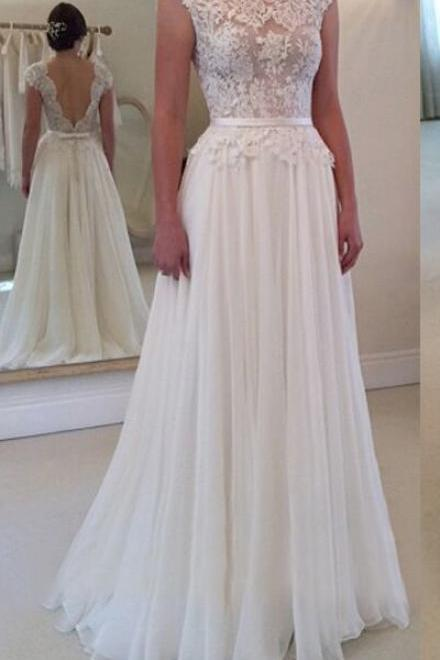Open Back Wedding Dresses,Long Wedding Dress,Wedding Gowns,Wedding Dresses,Ivory Wedding Dresses,Tulle Wedding Dress,A-line Bridal Gowns,Elegant Bridal Dresses