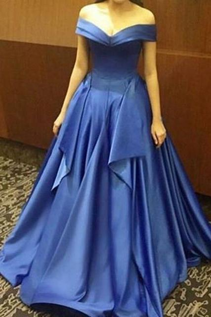 Blue Prom Dress,Prom Dresses,Satin Prom Dress,Prom Dresses For Teens,Long Prom Dress,Elegant Prom Gowns,Formal Evening Dresses,Cute Party Dresses,Off Shoulder Evening Gowns,Women Dresses