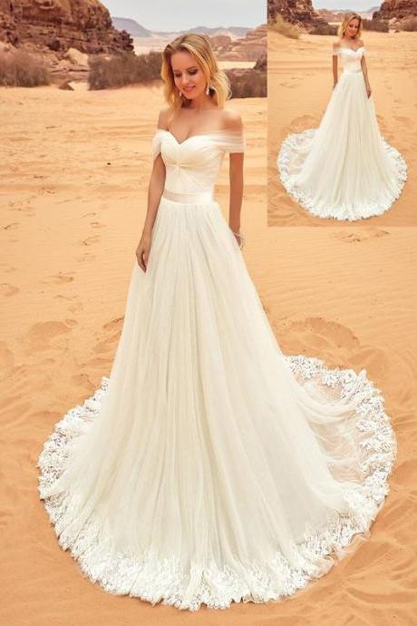 Off-the-Shoulder Twisted Ruched A-line Wedding Dress with Long Train