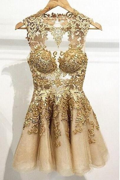 Appliques Short/Mini Homecoming Dresses,Gold Party Dresses, O-Neck Homecoming Dresses, Real Made Graduation Dresses,On Sale