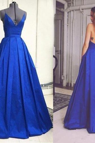 New Arrival Long Spaghetti Straps Prom Dresses,Royal Blue Deep V-neck Prom Dresses,Backless Prom Gowns,Charming Prom Gowns