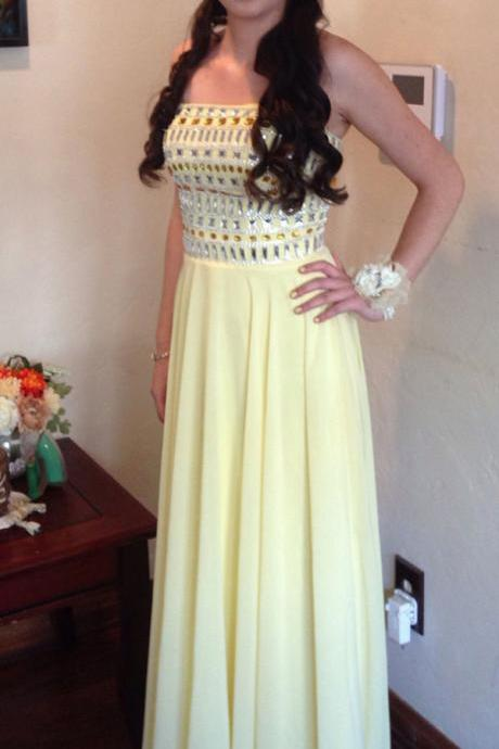 Dafodil Prom Dresses,Chiffon Prom Dress,Long Prom Dress,Elegant Prom Gowns,Strapless Prom Dress,Beading Evening Dresses,Simple Cheap Prom Dress,Prom Dresses For Teens DR0078