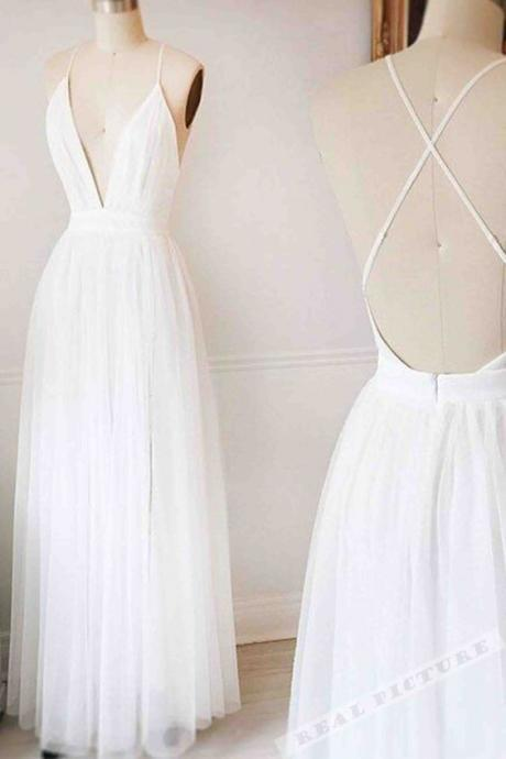 White Prom Dress ,Long Prom Dresses,Backless Prom Dresses,A-line Tulle Prom Dresses,Prom Dresses For Teens,Elegant Prom Dresses,Pretty Prom Gowns,Simple Cheap Prom Dress,Cute Dresses,V-neck Party Dresses