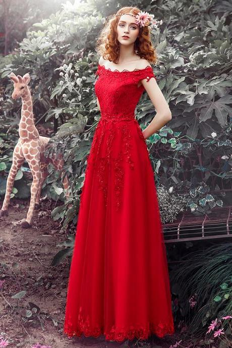 Prom Dresses,Elegant Prom Dress,Long Prom Dresses,Red Prom Dresses,Lace Prom Dresses,Lace Up Prom Dress,Off Shoulder Prom Gowns,Tulle A-line Prom Dress,Prom Dresses FOr Teens,Beautiful Party Dresses,Modest Evening Dresses