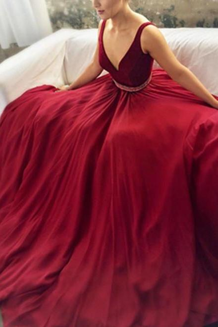 V-neck Prom Dress,Red Prom Dresses,Long Prom Dress,Evening Dresses,Sparkly Prom Dress,Princess Prom Dress,Modest Prom Gowns,Party Dresses,A-line Evening Gowns