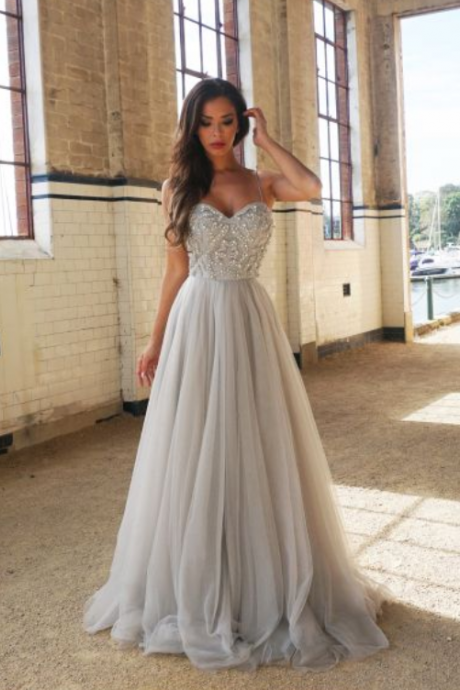 Spaghetti Straps Prom Dress,Gray Prom Dresses,Tulle Prom Dreses,Long Prom Dresses,Formal Evening Dresses,Prom Gowns,Handmade Prom Dress,Backless Prom Dress,Prom Dresses For Teens,Prom Dress