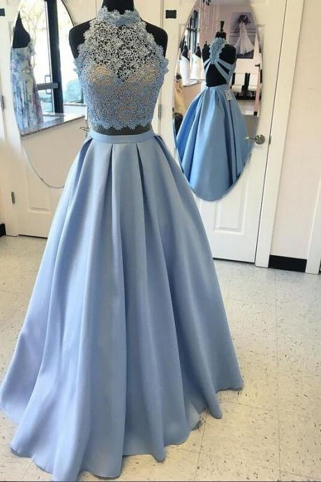 Light Blue Long Prom Dress,Two Pieces Prom Dresses For Teens,Lace Prom Dress,A-line Prom Dresses,Satin Prom Dresses,Simple Cheap Elegant Prom Dresses,Prom Gowns,Evening Dresses