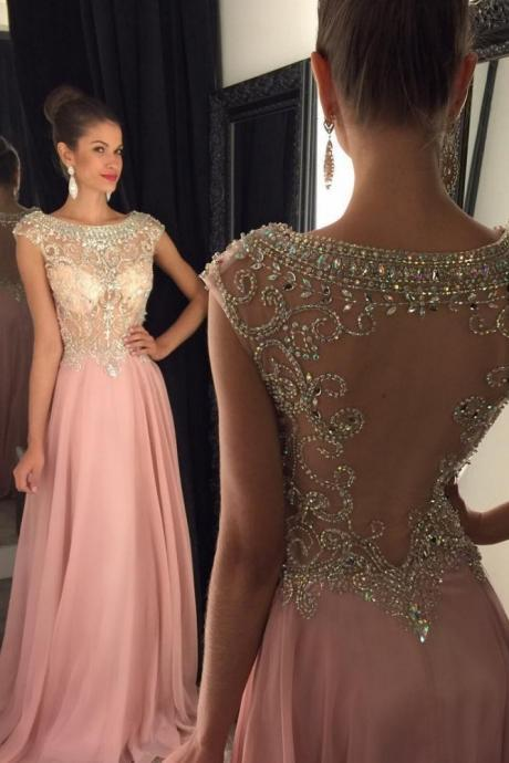 Boat Neckline Prom Dress,Cap Sleeves Prom Dresses,Long Beading Prom Dress,Modest Evening Dresses,Girly Party Dresses,Sparkly Evening Gowns