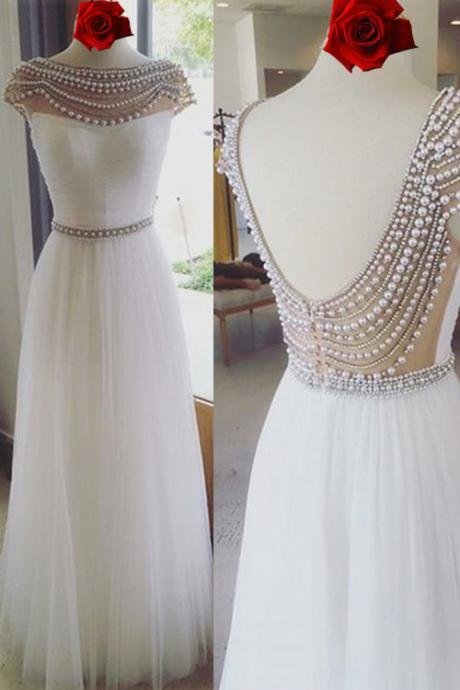 White Boat Neckline Prom Dress, Long Prom Dresses For Teens,Elegant Backless Prom Gowns,Handmade Evening Dresses,Formal Party Dresses,Cute Dresses