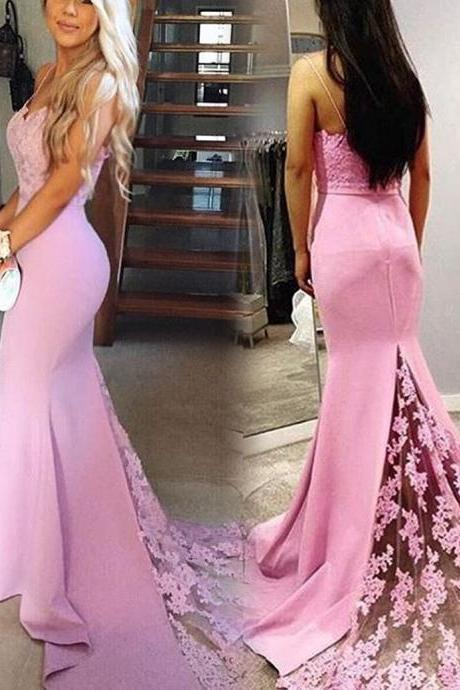Pink Long Mermaid Lace Backless Modest Prom Dresses,Spaghetti Straps Evening Dresses,Charming Women Dresses,Elegant Party Dresses