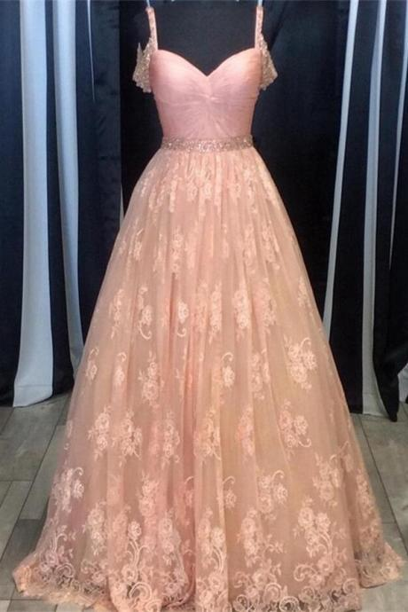 Spaghetti Straps Pink Prom Dress,Lace Prom Dresses,Girly A-line Prom Gowns,Formal Evening Dresses,Long Prom Dress,Dresses For Teens,Women Dresses