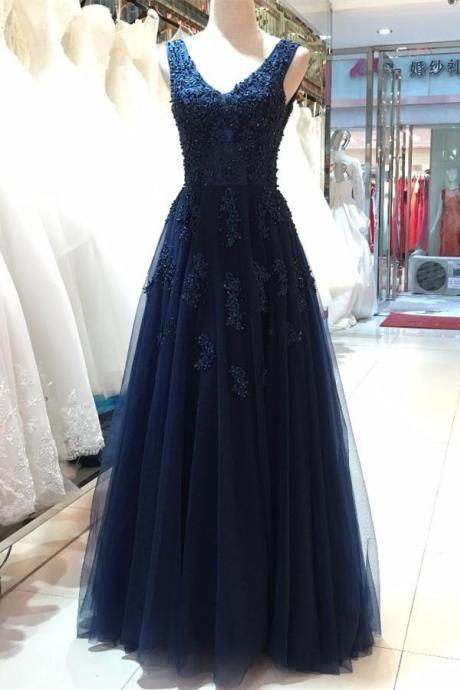 Floor Length Prom Dress,V-neck Prom Dresses,Open Back Evening Dresses,Beautiful Navy Blue Prom Gowns,Women Dresses