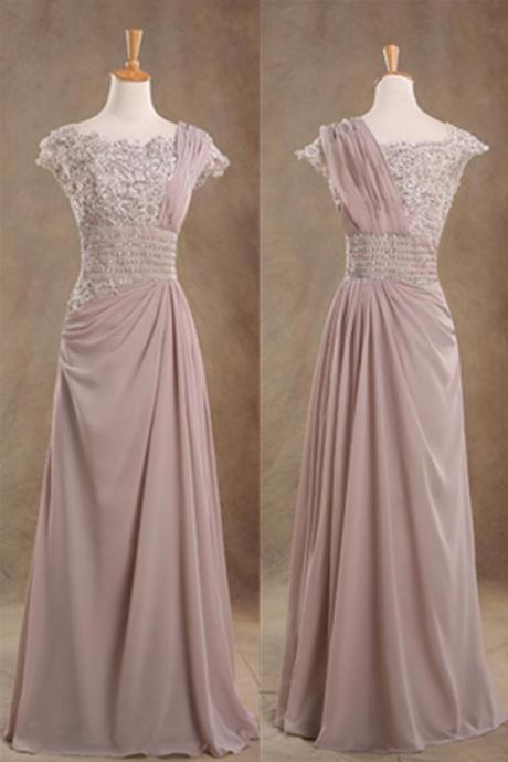 Reddish Grey Chiffon Beading Lace Handmade A-line Prom Dresses,Mother Of The Bridal Dresses,Simple Cheap Prom Dress,Elegant Prom Gowns,Modeat Evening Dresses