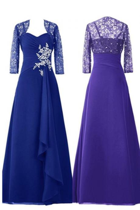 Blue High Low Chiffon Beading Prom Dresses,Modest Prom Dresses,Handmade Simple High Quality Prom Gowns