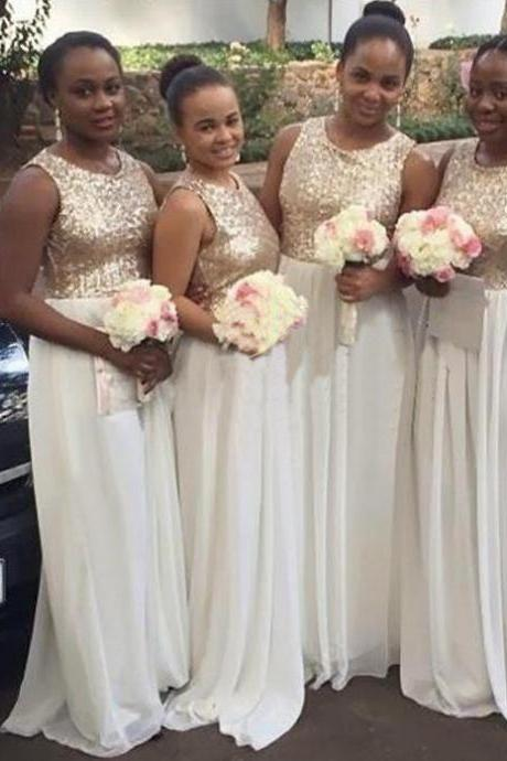 O-neck Long Sequin Shiny Bridesmaid Dresses,Ivory Chiffon Bridesmaid Dress,Pretty Bridesmaid Gowns,Close Back Bridesmaid Dress