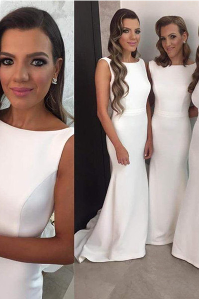Simple Satin Mermaid Long Bridesmaid Dresses,Elegant Prom Dresses,White Cheap Bridesmaid Gowns