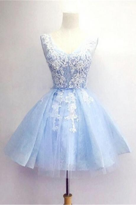 Light Blue Short Prom Dresses,V-neck Lace Homecoming Dresses,Homecoming Dress,Party Dresses,Short Dress