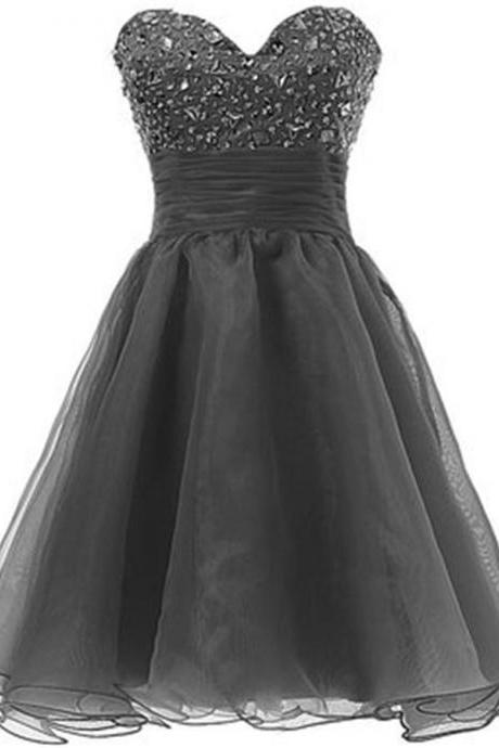Sweetheart Grey Homecoming Dresses,Beading Homecoming Dress,High Low Handmade Party Dresses,Classy Short Prom Dresses
