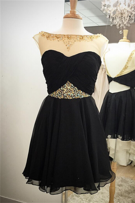Black Handmade Homecoming Dresses,Chiffon Homecoming Dress,Pretty Graduation Dresses,Short Prom Dresses