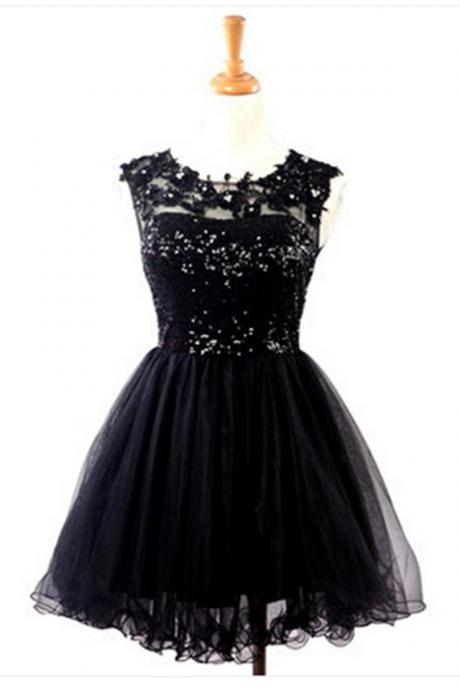 Elegant Black Homecoming Dresses,Beading Homecoming Dress,Lace Short Prom Dresses