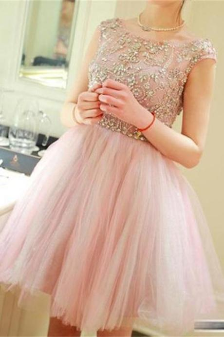 Cute Pink Homecoming Dresses,Homecoming Dress,Beading Sparkly Homecoming Dress For Girls