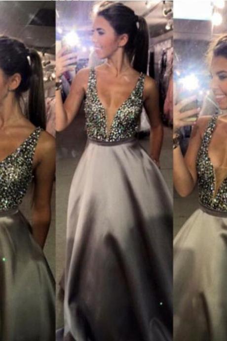 Deep V-neck Prom Dress,Long Satin Prom Dresses,Handmade Sexy Prom Gowns For Teens,Prom Dresses