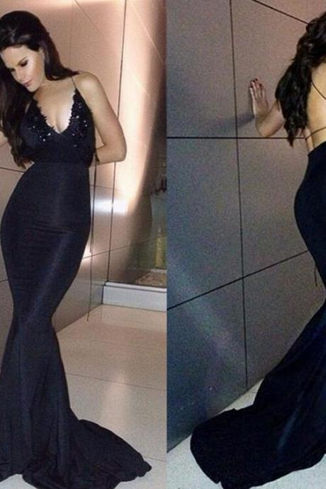 Black Long Mermaid Lace Prom Dresses,Prom Gowns,Evening Dresses,Party Gowns,Backless Prom Dress DR0054