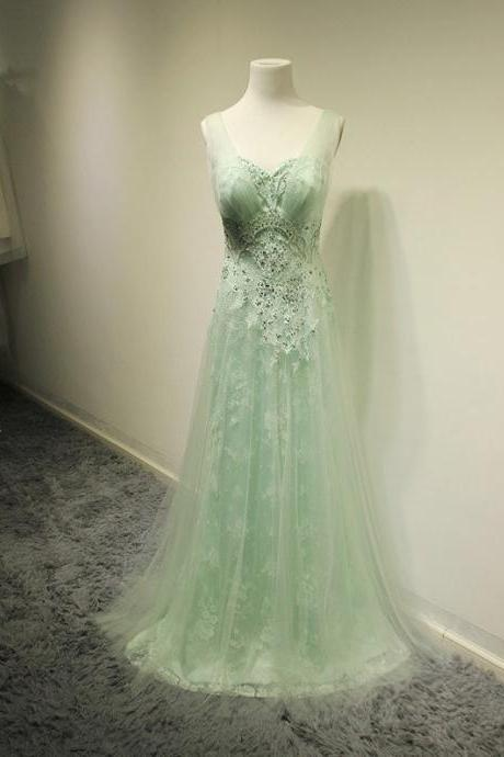 Mint Beading Prom Dress,Lace Prom Dresses,Long Party Dresses,Classy Prom Gowns,Handmade Evening Gowns,Prom Dress