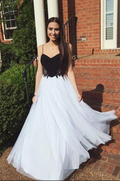 High Quality Long A-line Prom Gowns,Pretty Classy Tulle Prom Dress White Straps,Charming Prom Dresses For Teens