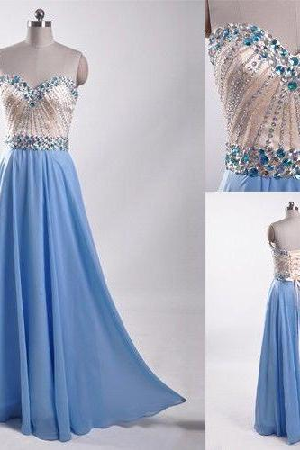 Charming Classy Prom Dress,Blue Beading Prom Dresses,Pretty Chiffon Prom Gowns,Evening Gowns