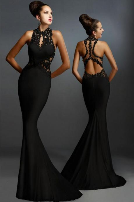 Charming Long Mermaid Evening Dresses,Sexy Lace Prom Dresses,Sparkly Long Prom Gowns