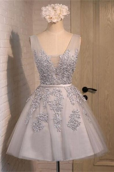 V-neck Gray Short Lace Homecoming Dresses,Sparkly Handmade Graduation Dresses,Pretty Cocktail Dresses