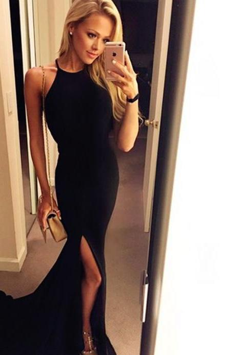 Sexy Black Long Prom Dresses,Fron Split Prom Gowns,Sexy Evening Dresses,Prom Gowns,Pretty Evening Gowns