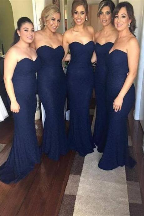 Custom Made Navy Lace Sweetheart Neckline Floor Length Mermaid Bridesmaid Dress