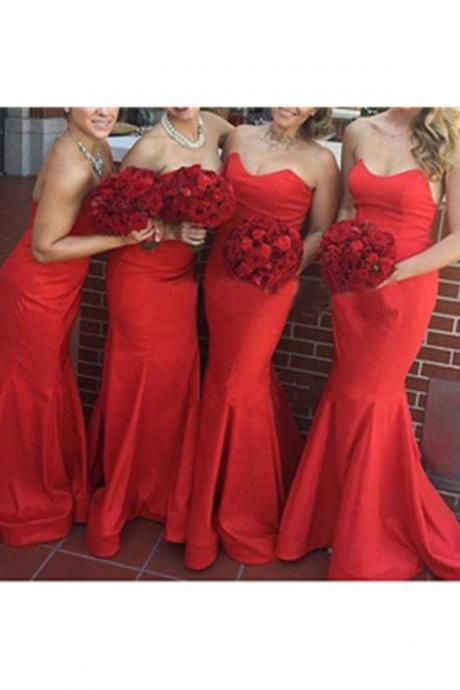 Real Sexy Long Mermaid Bridesmaid Dress,Strapless Simple Cheap Bridesmaid Dresses,Red Bridesmaids Dresses,Bridesmaid Gowns
