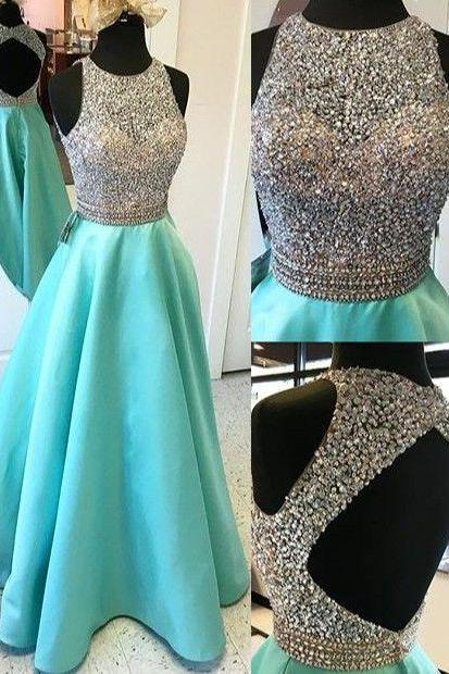 Long A-line Prom Dresses,Beading Open Back Satin Prom Dresses,Modest Evening Dresses,Party Prom Dresses,Pretty Prom Gowns.