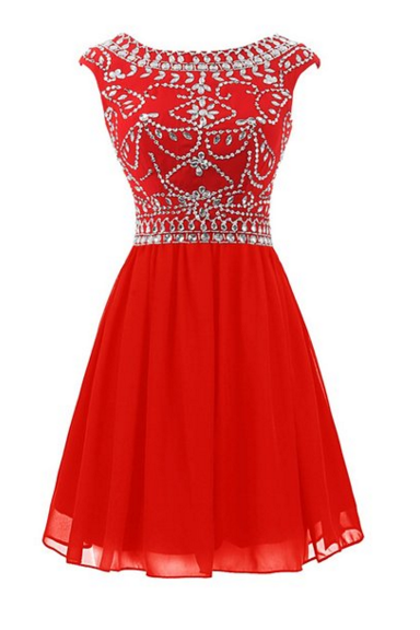 Hot Selling Red Short Homecoming Dresses For Teens,Beauty Beading Graduation Dresses,pen Back Cocktail Dresses
