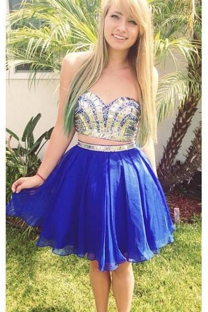 Two Pieces Beading Homecoming Dresses, Short/Mini Graduation Dresses,Sweetheart Charming Homecoming Dresses,Homecoming Dress, Chiffon Homecoming Dress On Sale,