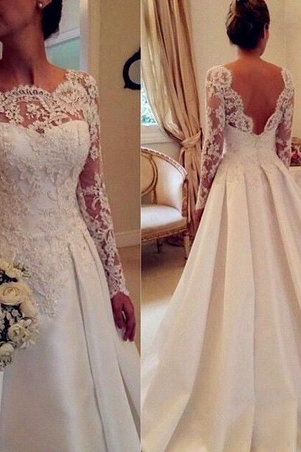 Newest Long Sleeve Ivory Wedding Dresses,A-Line Lace Wedding Dresses, Backless Wedding Dress,Wedding Dresses, Dresses For Wedding