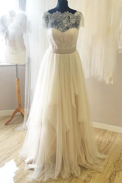 Real Made Lace Wedding Dresses,Sexy Tulle Wedding Dresses,The Charming A-Line Wedding Dress,Wedding Dresses, Dresses For Wedding