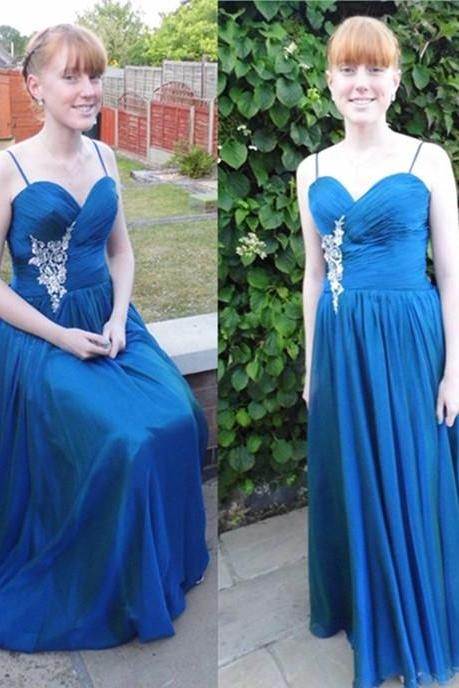 Royal Blue Prom Dress,Spaghetti straps Beading Prom Dresses,A-Line Sweetheart Floor-Length Evening Dresses, Prom Dresses, Real Made Prom Dresses On Sale,