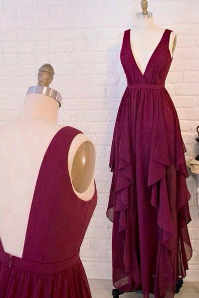 Real Sexy Long Chiffon Burgundy Prom Dresses,Deep V-neck Prom Dress,Open Back Evening Dresses,Simple Cheap Long Prom Gowns On Sale