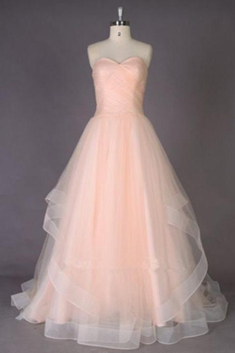 Blush Pink Long Prom Dresses,Simple Evening Dresses,Sweetheart Cheap Prom Dress