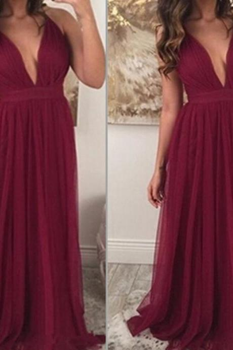 Long Prom Dresses,Simple Evening Dresses,Cheap Prom Dresses,Sexy Prom Gowns.Deep V-neck Party Dresses