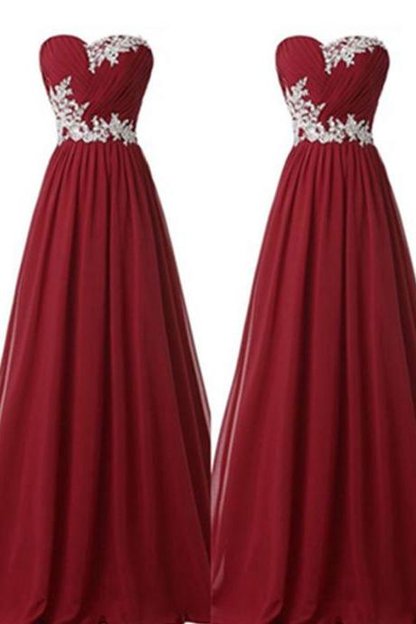 Bridesmaid Dresses,Back Up Lace Long Prom Dresses,Sweetheart Evening Dresses,Burgundy Prom Dresses,Lace Prom Gowns On Sale