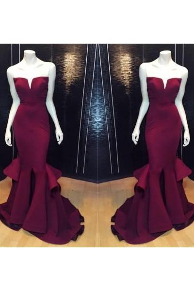 Formal Dress Prom Dress Burgundy Sweetheart Court Train Satin Trumpet Mermaid Prom Evening Dress