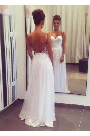 Sexy Beach Backless Wedding Dresses, Spaghetti Straps Wedding Dress,Tulle A-Line Bridal Dresses