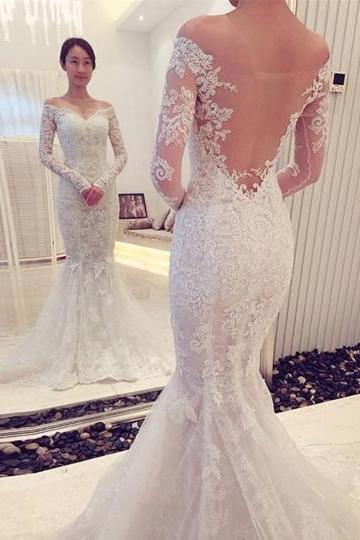 Off The Shoulder Wedding Dresses,Appliques Bridal Dresses,Long Sleeves Wedding Dress,Mermaid Wedding Dresses