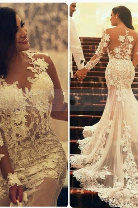 Mermaid Bridal Wedding Dress,Gowns Court Train Wedding Dresses, Long Sleeve Plus Size Wedding Dresses
